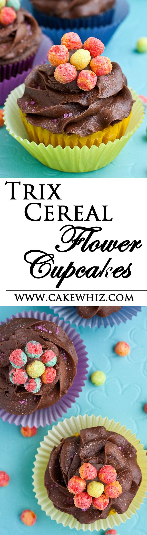 TRIX CEREAL FLOWER CUPCAKES... Fun and easy cupcakes for Spring time! Even kids can make them! From cakewhiz.com