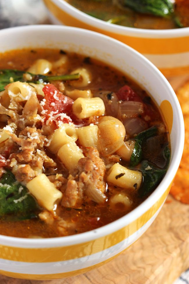 Italian Sausage Soup with White Beans and Spinach (frozen spinach pasta recipes)