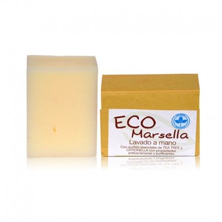 Jabón #Eco- #Marsella Biologico, #LaSaponaria.  Es un producto ecológico: #natural y #biodegradable, no contamina el #medioambiente como otros productos de ducha o jabones fabricados de manera industrial.  - Es suave y no irrita la piel, como los jabones industriales.  - Es #hipoalergénico, #desinfecta y cura las #heridas.  - Lo suelen recetar los dermatólogos en casos de #eczema...   TeQuieroBio.com