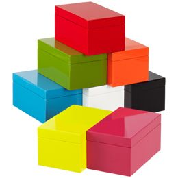 Container Store Medium Lacquered Rectangular Box, $12.99 each decorative object, home decor, vignette styling: Photos Storage, Storage Boxes, The Container Stores, Rectangular Boxes, Lacquer Boxes, Lacquer Rectangular, Bright Colors, Medium Lacquer, Offices Supplies
