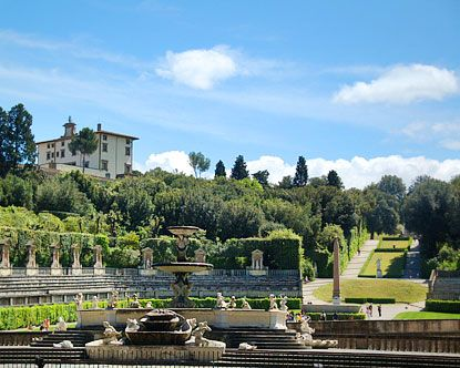 The Boboli Gardens are an elaborate park in central Florence. It is adorned with a range of stunning sixteenth- through eighteenth-century sculptures, garden temples, nympheums, fountains, and private gardens, as well as an array of items from Roman antiquity. T