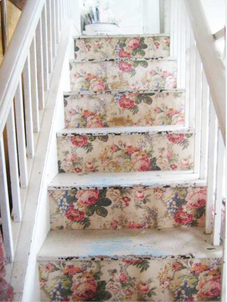 Staircase ~ vintage wallpaper