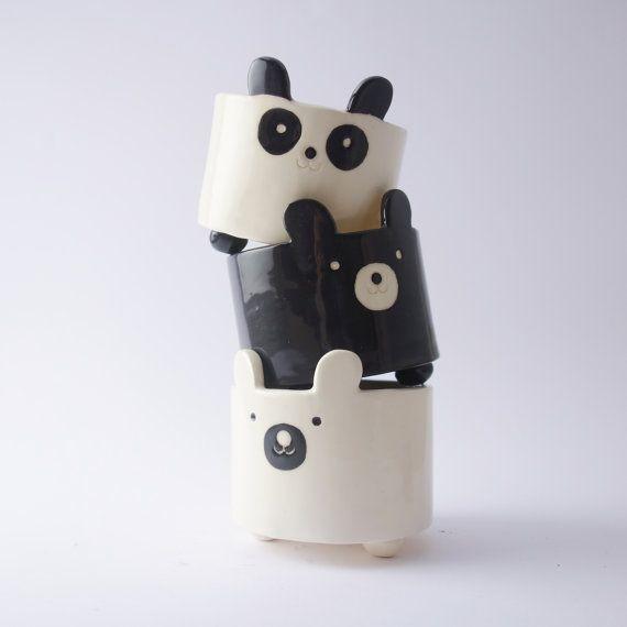 Black Bear Planter, Plant Pot, Ceramic, Pottery