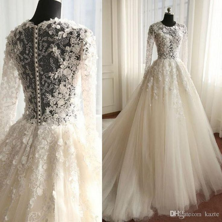 Illusion Lace Wedding Dress Romantic Ivory Tulle Vintage Bridal Gowns Button Covered Back Long Train Spring Fashion Wedding Dresses Mariage