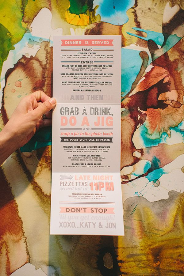 modern menu // photo by Ellie Grover