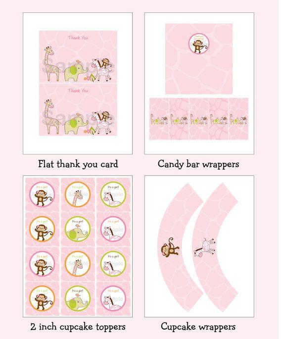 Safari Girl Jungle Animal Printable Baby by LittlePrintsParties, $10.00
