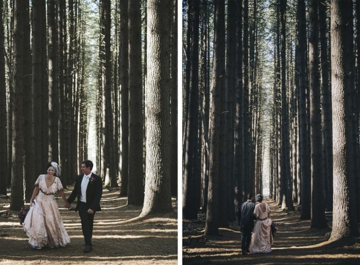 Bride and groom in the pine forest after their ceremony. Near Tumbarumba and Batlow in New South Wales, Australia - taken by Anthea and Lyndon Photography and Video