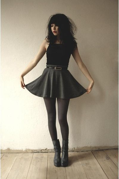 Gray-boots-gray-tights-gray-skirt-black-lace-top-top
