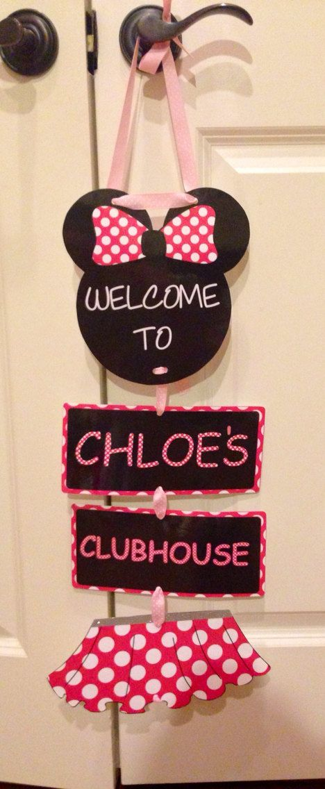 Minnie Mouse laminated sign. Welcome party sign for birthdays, baby showers, room decor, wall or door hanging and personalized sign. on Etsy, $24.80