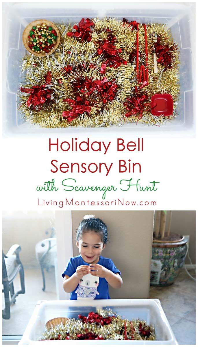 This holiday bell sensory bin is a fun way to include fine-motor activities, math work, and a scavenger hunt during the holiday season; post includes a YouTube video and the Montessori Monday linky collection.