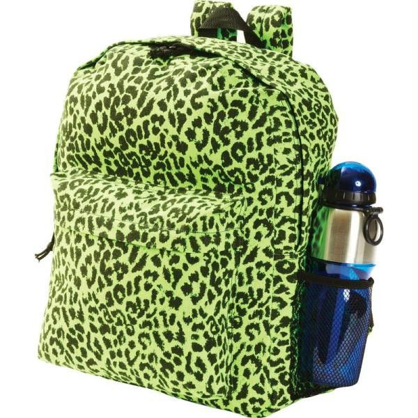 Extreme Pak Neon Green Leopard Print Backpack College Book BagsCollege