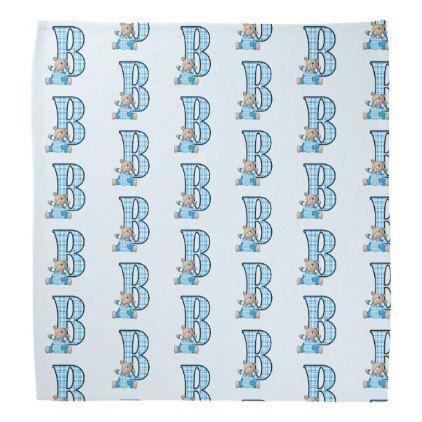#Kid's Monogram B for Teddy Bear in Blue Checks Bandana - #giftideas for #kids #babies #children #gifts #giftidea