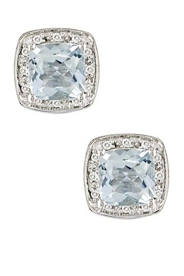 Pave Diamond & Aquamarine Cushion-Shaped Stud Earrings