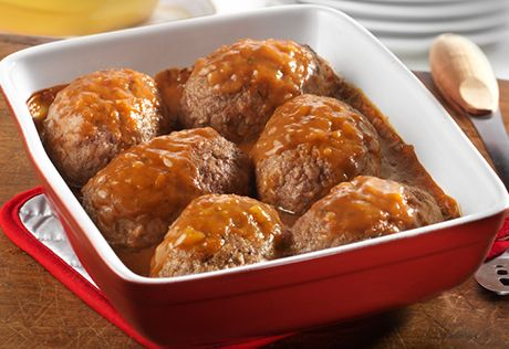 Delight your family by serving them their own mini meatloaf. They're packed with flavor, super moist and topped with savory sweet onion soup. Best of all, you can have this winning meal ready to serve in just 35 minutes!