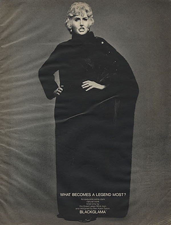 """Barbara Stanwyck - Blackglama Mink """"What Becomes A Legend Most?"""" Ad Campaign (1970)."""