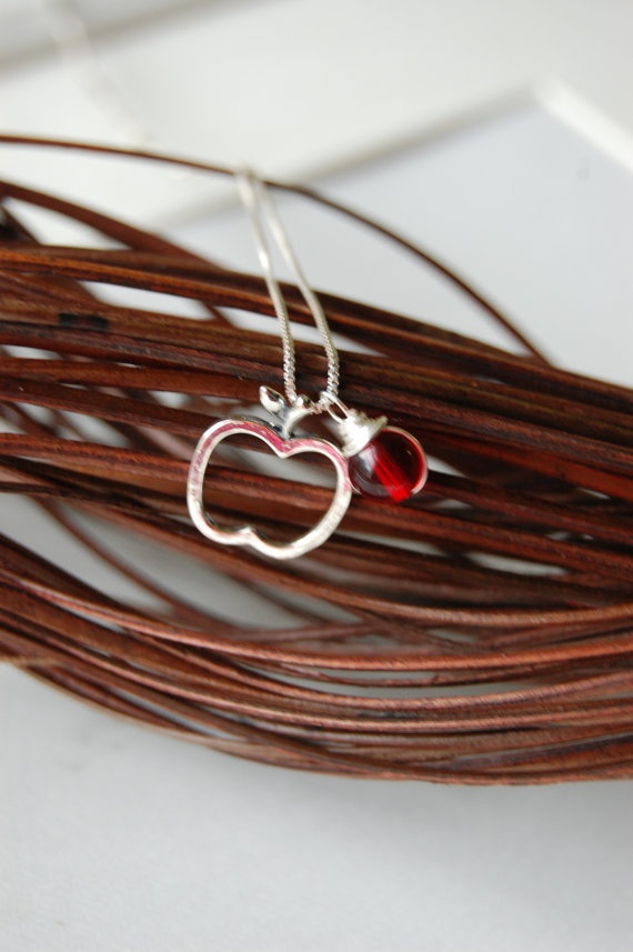 Sterling Silver apple - End of the year TEACHERS GIFT!