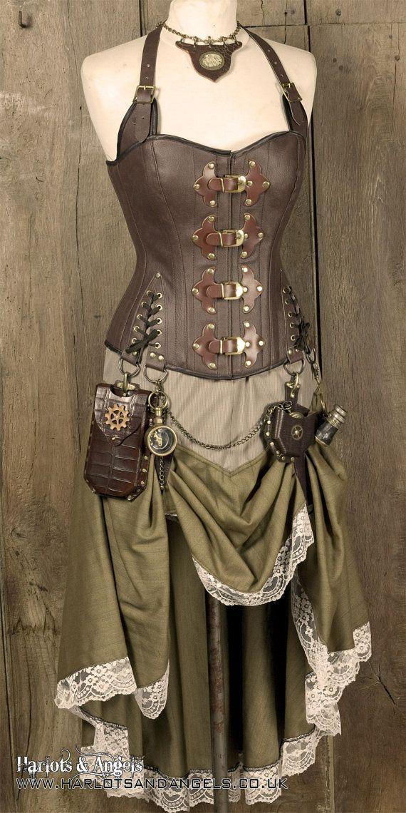 Steampunk-clad skirt. PDF pattern. Prints on USA