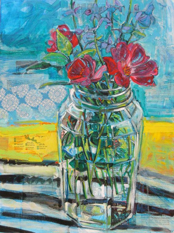 Remain In Light original mixed media painting of by PollyPainting, $675.00