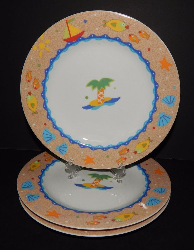 3 Studio Nova Mikasa Fine China Soft Seas Salad Plates Y0270 Jenny Faw Palm Tree # & 640 best Dinner Plates images on Pinterest | Dinner plates Dishes ...