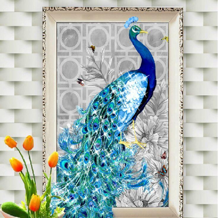 Azul pavo real pintura diamante 5D ronda cristal pasta de diamante de imitación bordados en punto de cruz Kit decoración para el hogar pinturas murales(China)