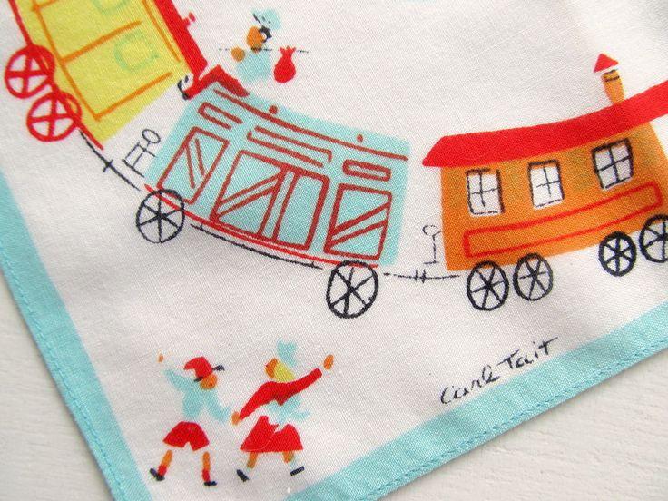 Unusual Vintage CARL TAIT Children's Train Hankie Kid-Size Designer Handkerchief #Childrens