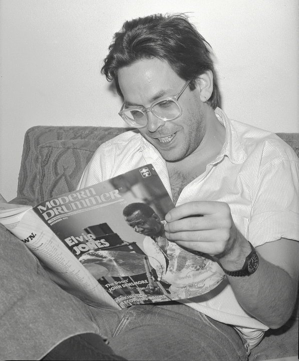 Jeff - reading a copy of Modern Drummer
