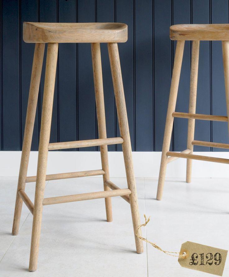Bailey Weathered oak bar stool.  Dimensions w:42cm x d:36cm x h:81cm