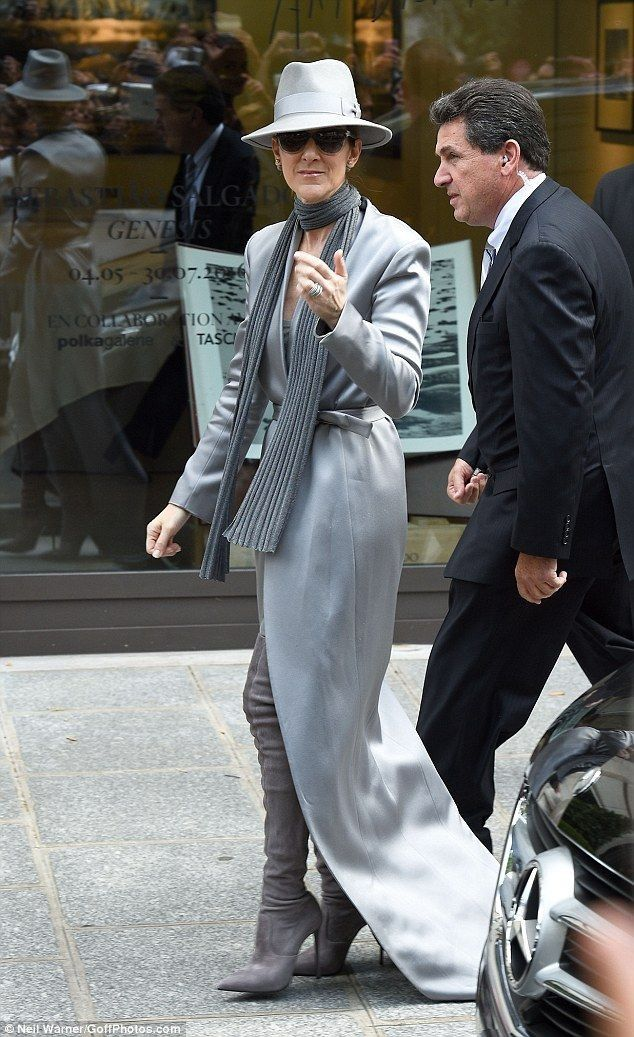 Celine Dion oozes glamour in grey thigh high boots in Paris - Celebrity Fashion Trends