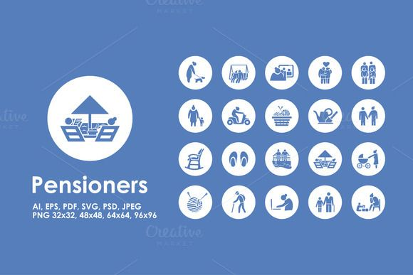 Pensioners simple icons by Palau on Creative Market