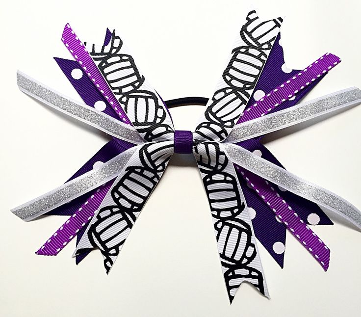 Custom Team Colors Purple and Silver Volleyball Hair Bows, Volleyball Hair Ties, Volleyball Ribbons, Volleyball Bow by SunshineandBling on Etsy