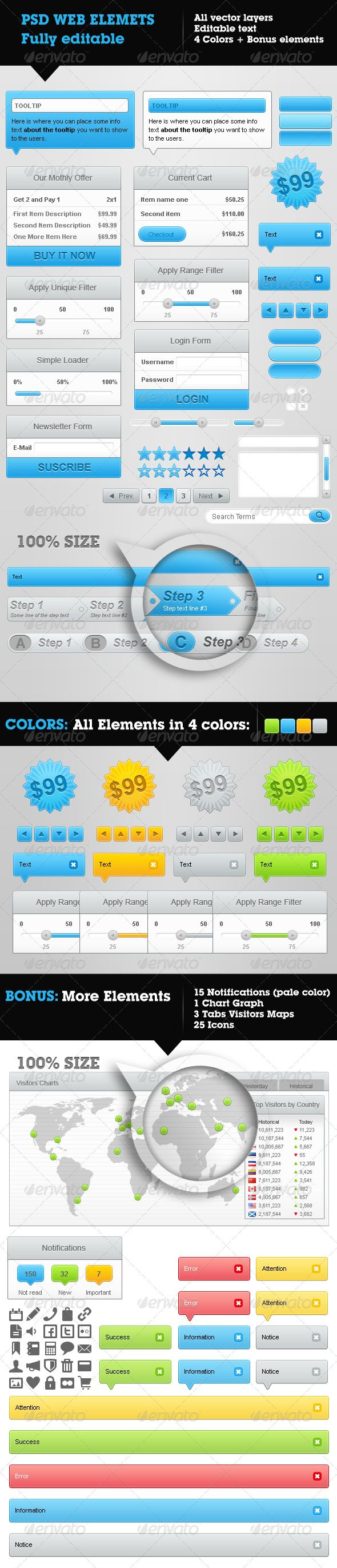 Web Elements Collection - 4 colors & Bonus  #GraphicRiver         Web Elements collection in 4 different colors.   Included elements (all of these in 4 colors): - 2 Tooltip popups - 1 small Tooltip popup - 2 Buttons (rounded and square) with 3 states (normal, hover, active) - 1 Badge - 4 directional arrows - 1 Monthly Offer Box - 1 Current Cart Box - 1 Unique Filter Box with single slider - 1 Range Filter Box with range slider - 1 Login Box - 1 Simple Loader Box - 1 Newsletter suscription…
