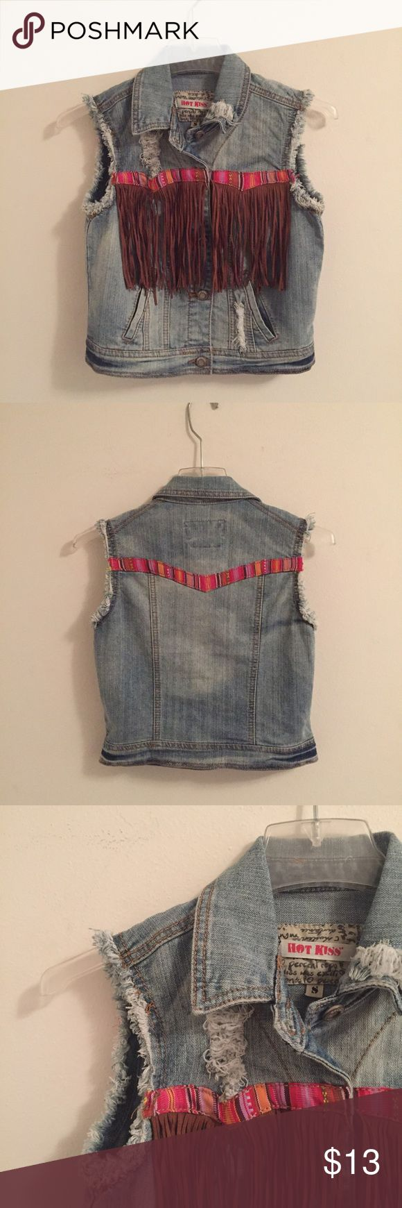 Boho jean vest with fringe detail Super cute distressed jean vest with aztec stitching and fringe detail. Worn a couple times this past summer, in great condition. Super cute over a dress or pair with white jeans Nordstrom Jackets & Coats Vests