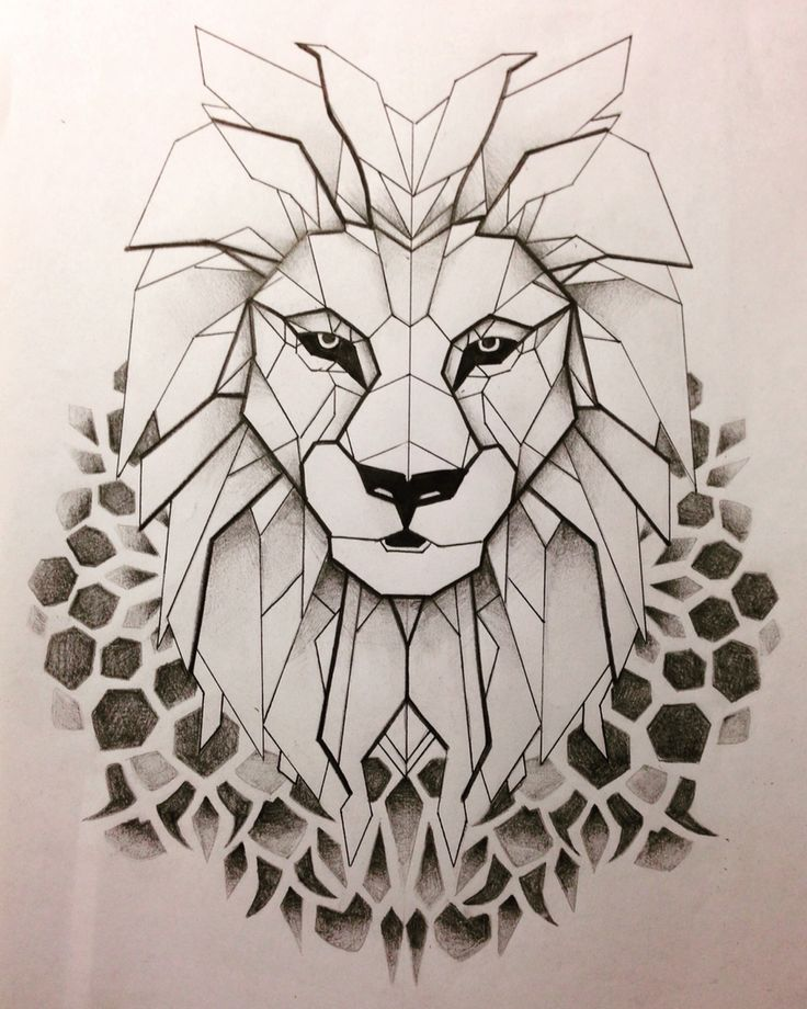 Geometrical Lion Tattoo