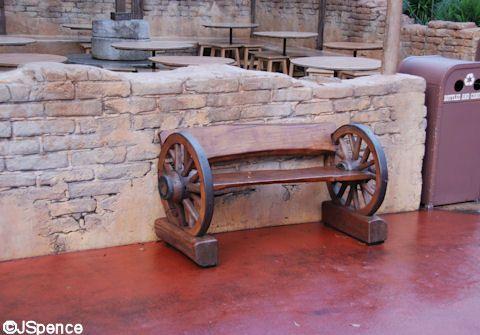 Seating At The Magic Kingdom Wagon Wheel Bench Disney Magic Pinterest Disney Wagon Wheels