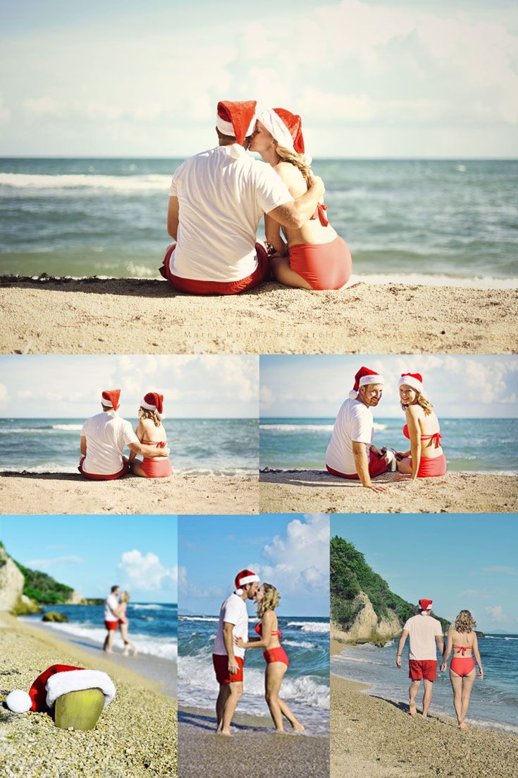 Christmas Beach Photo Shoot | Couple Christmas photo ideas | family photos | Puerto Rico Photographer Marni Mutrux Meistrell
