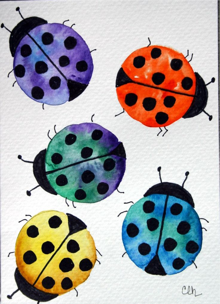 Ladybugs, Watercolor on coffee filters.