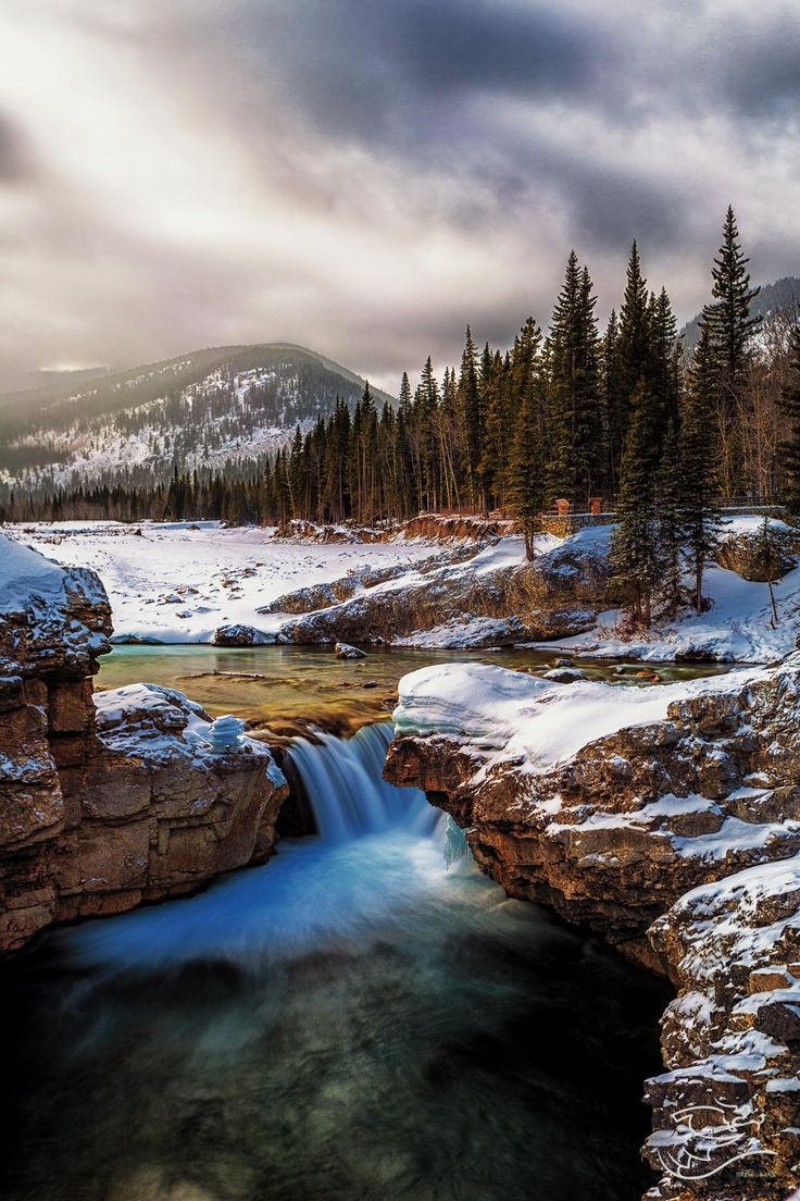 Elbow Falls in colour by Drew May ~  Alberta, Canada*