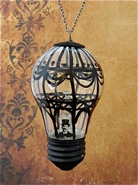 Steampunk Christmas ornament - Hot air balloon II - Hand painted ornament - Victorian Ornament - One of a kind