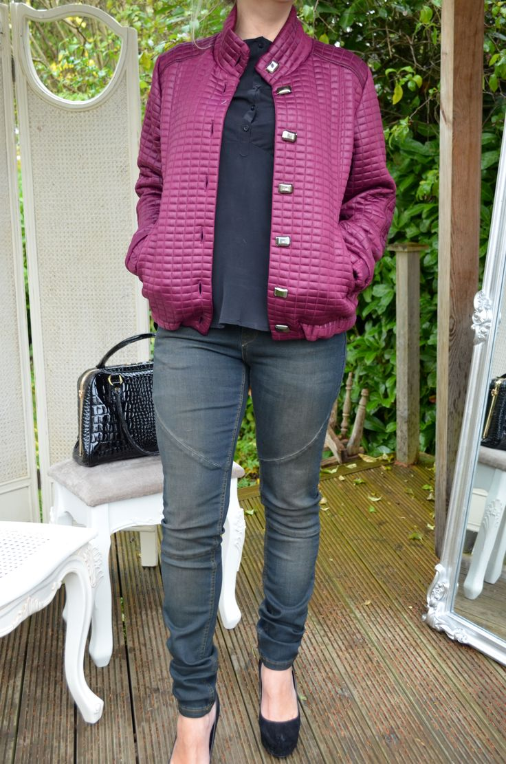 Lorella Garbi Pink Bomber £115, Culture Jeans £95, Costa Copenhagen Mixed Cotten and Silk Top (Available in White) £57, Black Real Leather Bag £100