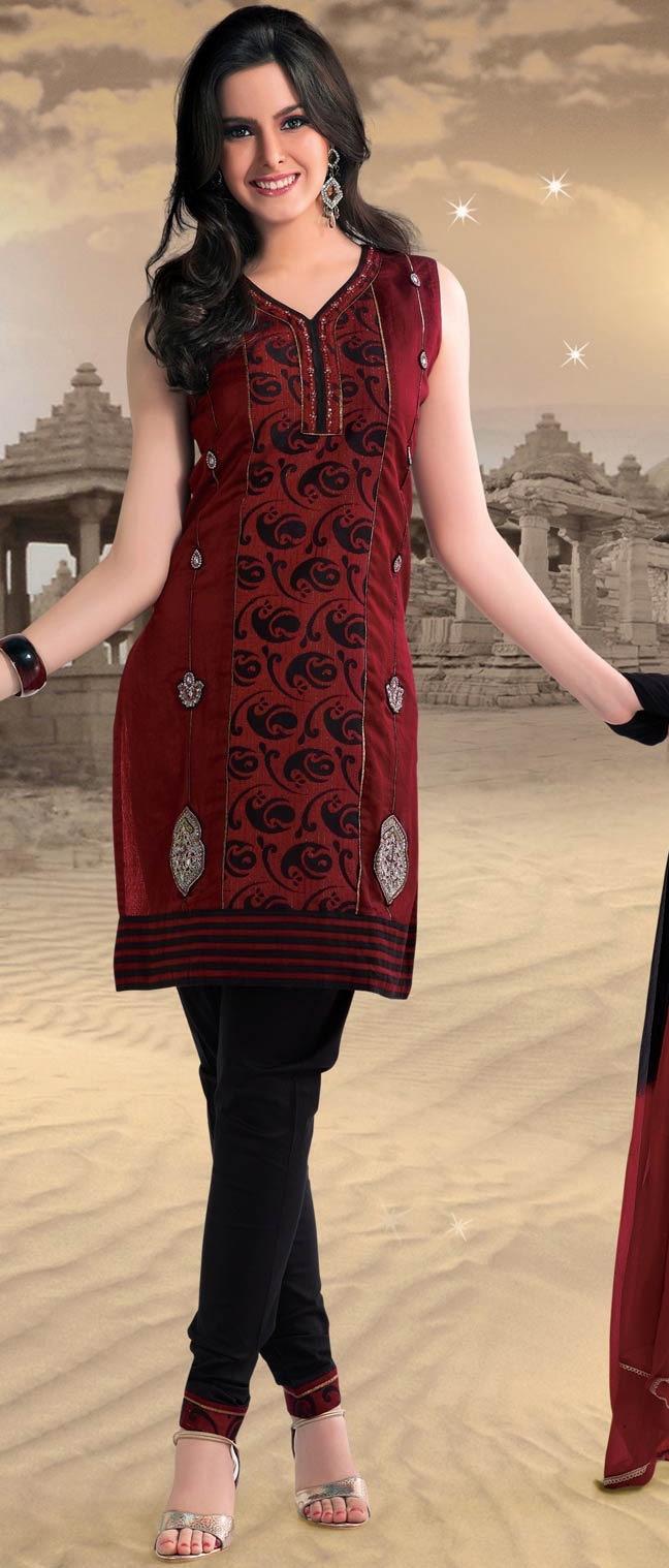 Dark #Red #Cotton Readymade #Churidar Kameez @ $68.66