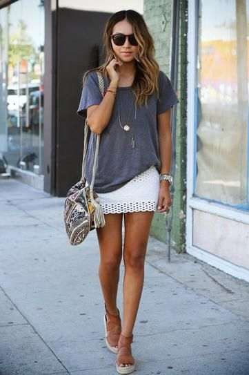 Master cool girl bohemian style combining a crochet skirt, espadrilles, and an oversized t-shirt. Casual Summer Outfits To Copy Now | StyleCaster