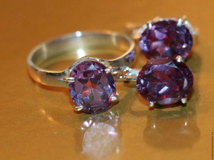 """Купить Серьги кольцо""""АЛЕКСАНДРИТ""""№16-александрит-серебро 925%. - необычный подарок, необычное украшение, нежное украшение"""