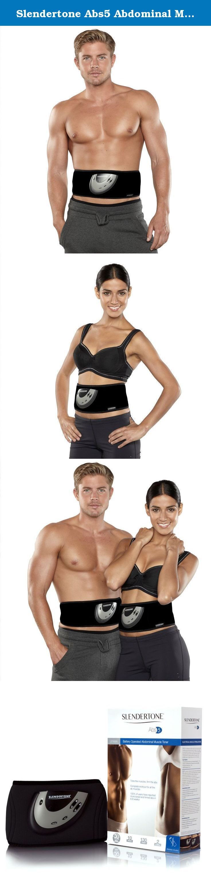 """Slendertone Abs5 Abdominal Muscle Toner - Core Abs Workout Belt - Black. Slendertone Abs5 belt fits waist sizes 24"""" to 46"""". Contents: Slendertone Belt, Control Unit, Travel Pouch, Manual, 3 AAA batteries, 2 Year Limited Warranty, 3 Adhesive Gel Pads."""