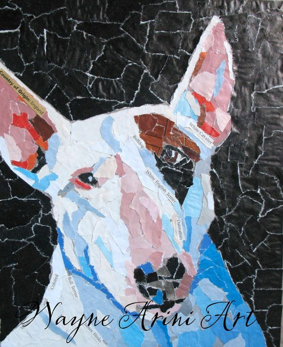White Bull Terrier Portrait  Dog Paper Collage  by quirkycottage
