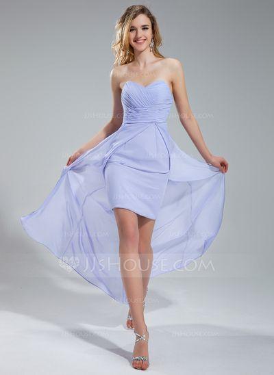 A-formet/Prinsesse Sweetheart te-lengde Chiffong Brudepikekjole med Frynse (007019651)
