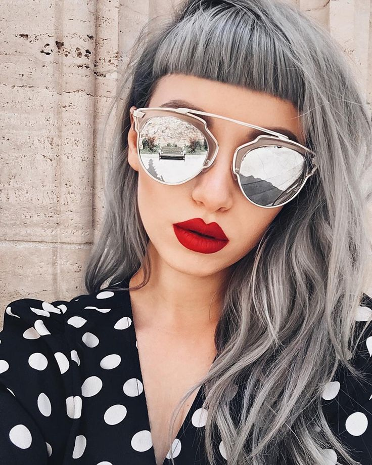 makeup, redlips, sunglass, grey, hair
