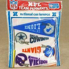 "NFL NFC Team Pennants 9"" Felt 16pc Set Vintage Rams 49ers Giants Packers Sealed"