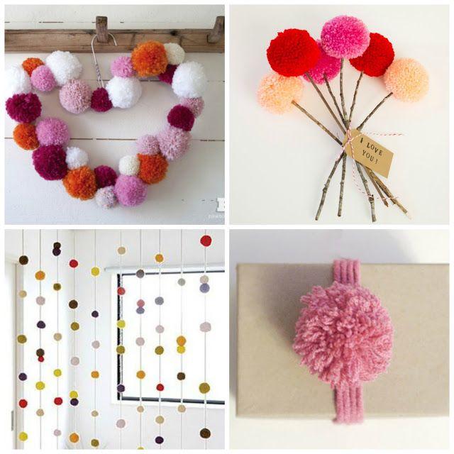 Pompones en objetos de decoracion y mobiles