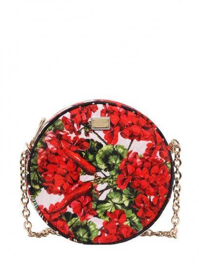 Borsa rotonda in broccato di seta con stampa a fiori e peperoncini Dolce e Gabbana Primavera/Estate 2015: