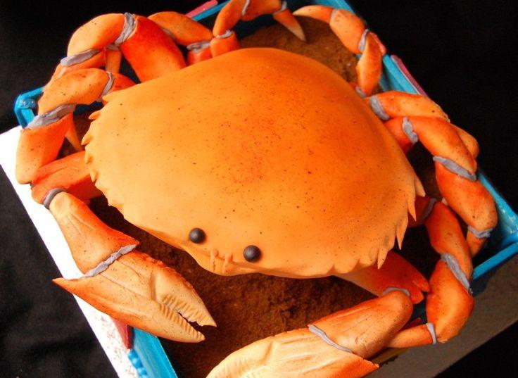 Fondant Cake With Crab On It
